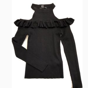 Sweaters - Black Cold Shoulder Sweater w/ Ruffle Detail